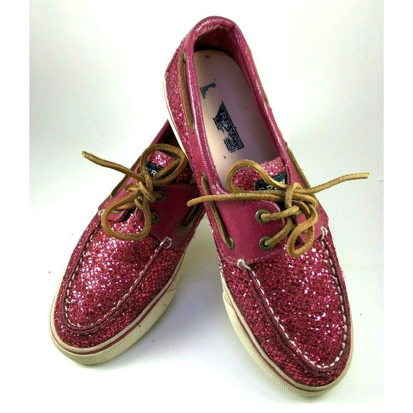 Sperry Dark Pink Sparkle Glitter Bahama Boat 7.5